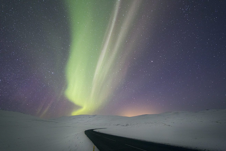 Aurora boreal desde el Norte de Islandia